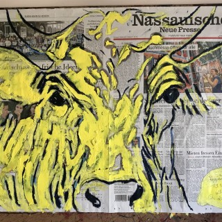 Oil paint and oil stick on Nassauische Newspaper Frankfurt 19.X.2019