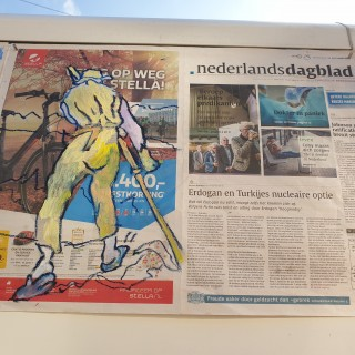 "Oil on ""Nederlandsdagblad"" Newspaper  Issue 23.X.2019"