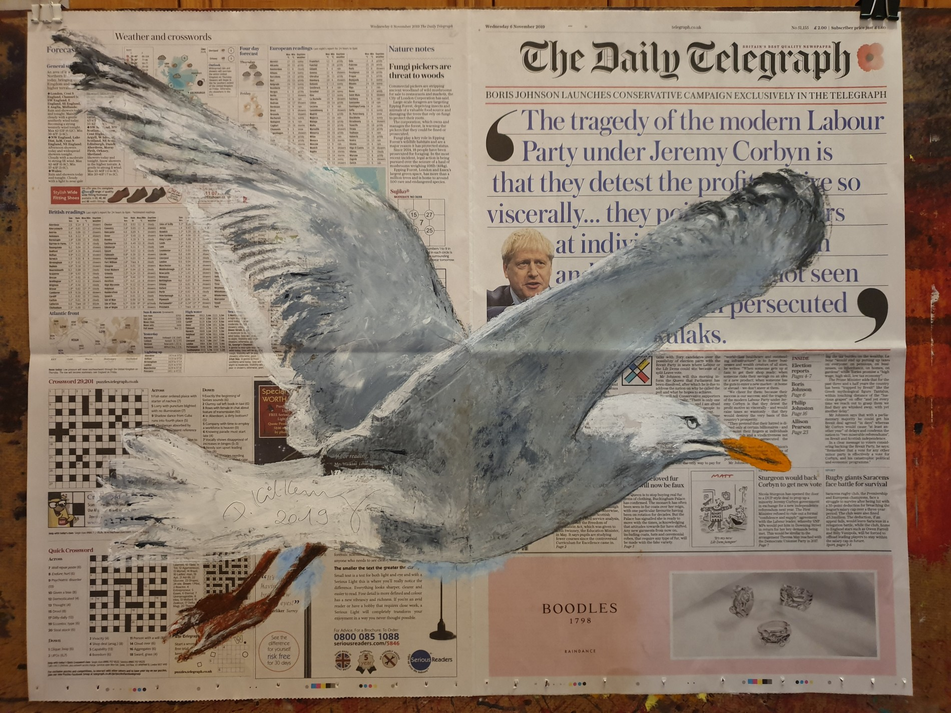 The Sea · for Mathilda Burghausen Oil on The Daily Telegraph • 6.XI.2019  by Pete Kilkenny