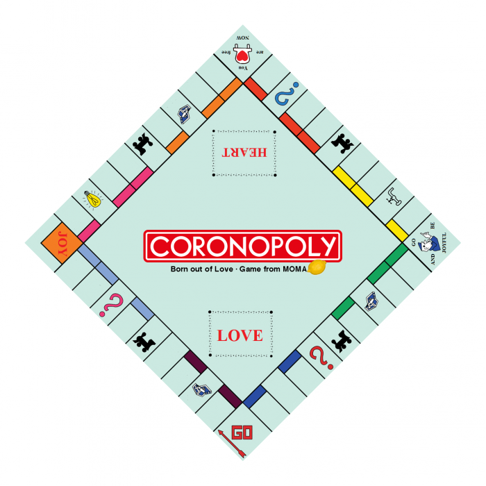 He's playing CORONOPOLY the real life game of KINDNESS from MoMA Lemon
