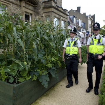 Incredible Edible · What growing on here then. Edibles growing in front of the police station in Todmorden