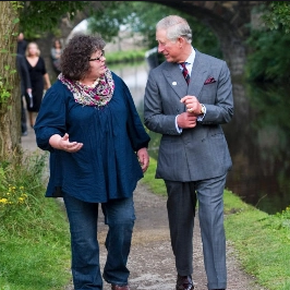 Mary likes to tell the story of her meeting Prince Charles when he came to visit Todmorden. Just as this photo was taken Prince Charles said to Mary,